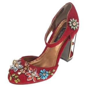 Dolce & Gabbana Red Embellished Jacquard Bird Cage Mary Jane Pumps Size 38