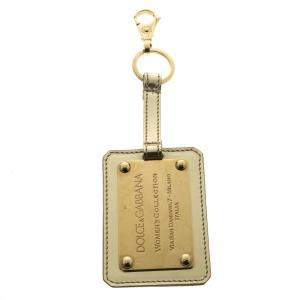 Dolce & Gabbana Metallic Leather Logo Plaque Keyring