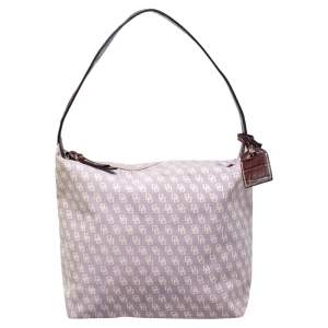 Dooney and Bourke Lilac Signature Canvas and Leather Shoulder Bag