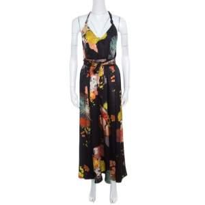 Dries van Noten Black Oriental Floral Printed Silk Halter Maxi Dress S