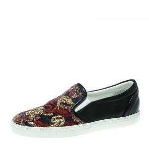 Dsquared2 Black Embroidered Fabric And Leather Slip On Sneakers Size 36