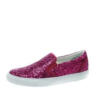 Dsquared2 Fuchsia Pink Coarse Glitter Slip On Sneakers Size 40