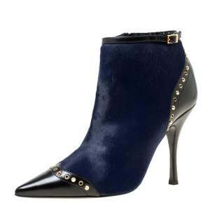 Dsquared2 Black Leather With Navy Blue Calf Hair Spike Studded Pointed Toe Ankle Boots Size 39
