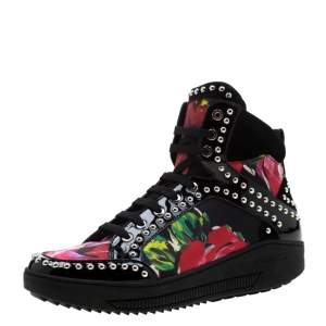 Dsquared2 Multicolor Floral Print Canvas And Patent Leather Studded High Top Sneakers Size 38