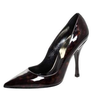 Dsquared2 Brown Tortoise Patent Leather Pointed Toe Pumps Size 38