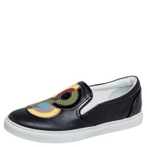 Dsquared2 Black Leather Low Top Sneakers Size 37.5