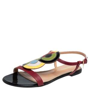 Dsquared2 Multicolor Leather And Patent Ankle Strap Flats Sandals Size 38