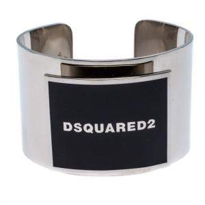 Dsquared2 Black Enamel Silver Tone Wide Open Cuff Bracelet