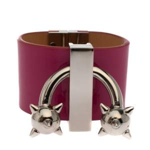 Dsquared2 Pink Leather Silver Tone Wide Cuff Bracelet S