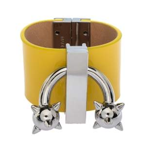 Dsquared2 Yellow Leather Silver Tone Wide Cuff Bracelet S
