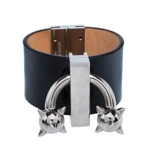 Dsquared2 Black Leather Pierce Me Wide Cuff Bracelet L