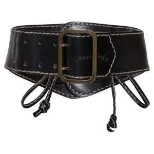 DSquared2 Black Leather Buckle Waist Belt Medium