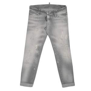 Dsquared2 Grey Faded Effect Splattered Distressed Cuffed Jeans S
