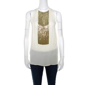 Dsquared2 Beige Embellished Panel Sleeveless Silk Top S