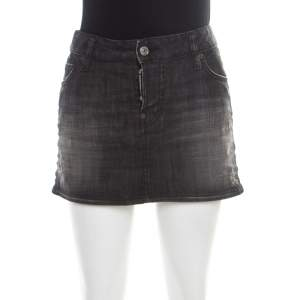Dsquared2 Black Faded Effect Denim Distressed Mini Skirt M