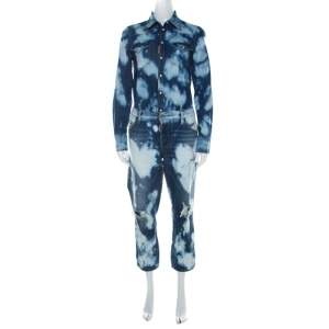 Dsquared2 Indigo Bleached Cotton Denim Jumspsuit M