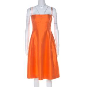 Dsquared2 Orange Ramie Silk Paneled A Line Camisole Dress M