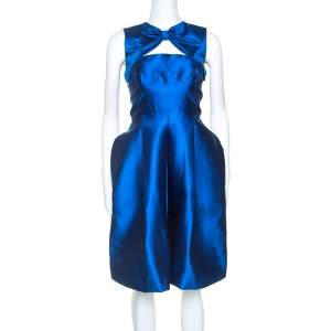 Dsquared2 Blue Silk Bow Neckline Balloon Hem Dress S