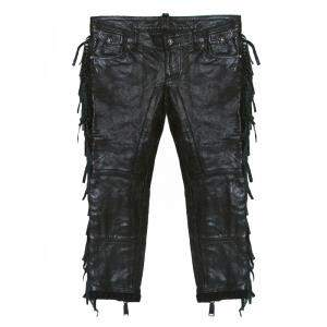 Dsquared2 Black Leather Fringed Trim Detail Cropped Pants S