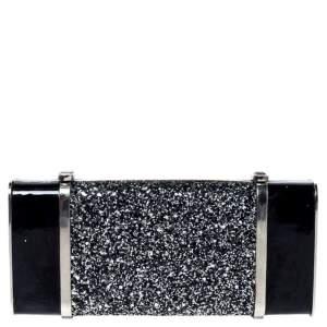 Dsquared2 Black Patent Leather and Glitter Box Clutch