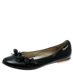 DSquared2 Black Leather Flower Detail Ballet Flats Size 37