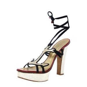 Dsquared 2 Blue Suede/Leather Arrow Ankle Wrap Platform Sandals Size 38