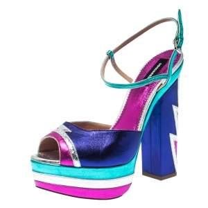 Dsquared2 Multicolor Leather Platform Ankle Strap Sandals Size 40