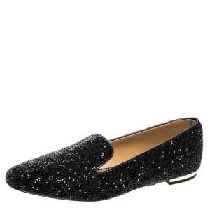 Dsquared2 Black Crystal Embellished Smoking Slippers Size 40