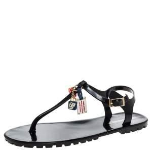 Dsquared2 Black Jelly Key Embellishment T-Strap Flats Size 41