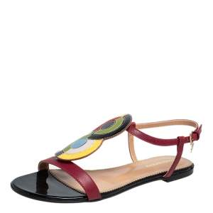 Dsquared2 Multicolor Leather And Patent Ankle Strap Flats Sandals Size 38.5