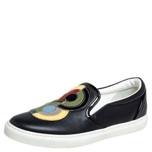Dsquared2 Black Leather Logo Low Top Sneakers Size 37