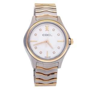 Ebel White 18K Rose Gold Stainless Steel Diamond Wave 1216306 Women's Wristwatch 35 mm