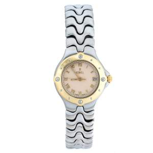 Ebel Beige Two-Tone Stainless Steel Sportwave E608762 Women's Wristwatch 28 mm
