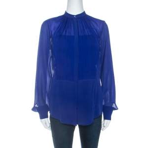 Elie Saab Blue Crepe Silk Ruched Detail Long Sleeve Shirt XS