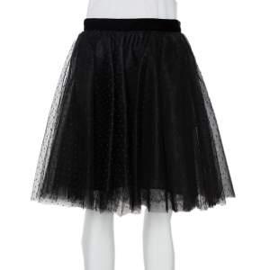 Elie Saab Black Tulle Mini Skirt S