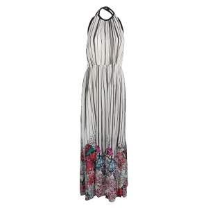 Elie Saab Monochrome Striped Silk Floral Print Halter Maxi Dress S