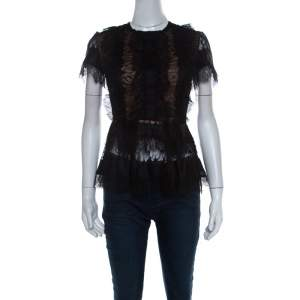 Elie Saab Black Lace Short Sleeve Peplum Top XS
