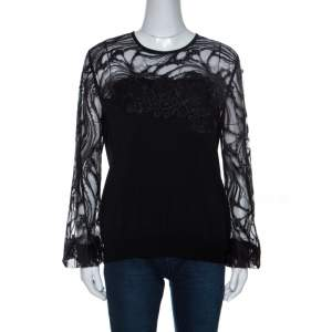 Elie Saab Black Knit Lace Trim Detail Top M