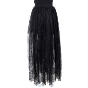 Elie Saab Black Plumetis Tulle Lace Trim Tiered Maxi Skirt S