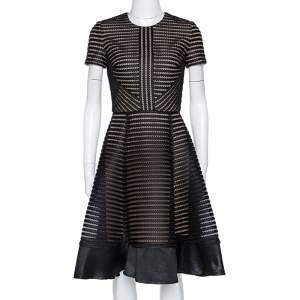 Elie Saab Black Honeycomb Mesh Striped Mini Dress XS