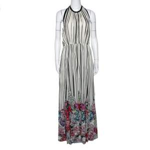 Elie Saab Monochrome Striped Silk Floral Print Halter Maxi Dress M