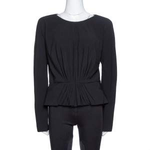 Elie Saab Black Wool Crepe Ruched Detail Long Sleeve Top M