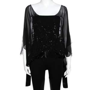 Elie Saab Black Silk Sequin Embellished Sheer Kaftan Top L