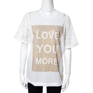 Elie Saab White Jersey Love Crystal Embellished Top XS