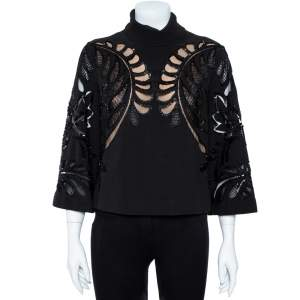 Elie Saab Black Crepe Embellished Lace Detail High Neck Blouse S