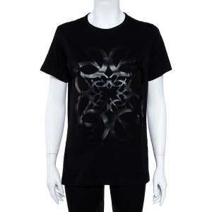Elie Saab Black Cotton Jersey Logo Embossed T-Shirt S