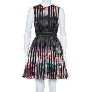 Elie Saab Multicolor Printed Silk Panelled Sleeveless Flared Dress S