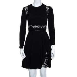 Elie Saab Black Crepe & Lace Paneled Asymmetric Hem Dress XS