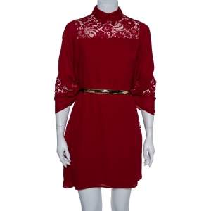 Elie Saab Red Silk & Lace Butterfly Sleeve Detail Belted Shift Dress XS