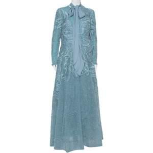 Elie Saab Blue Sequin Embellished Tulle Neck Tie Detail Evening Gown L